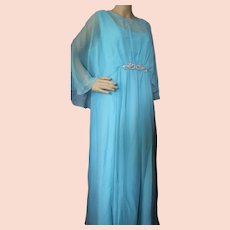 Flowing Evening Gown in Aqua Chiffon Attached Cape Woman Plus Size