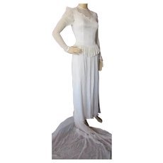 1940 Era Wedding Gown Accordion Pleated Sheer Fabric Rhinestone Appliques
