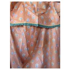 Pair Curtain Drape Panels in Peach Glazed Cotton Scattered Flower Print and Green Trim