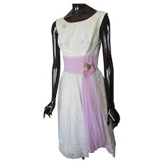 Mid Century Prom Dress White Lace Lavender Sash
