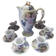 Hand Painted  China Coffee Set with Six Demitasse Cups Saucers Blackberry and Virginia Rose Design 1996