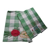 Pair Kitchen Towels Green Plaid Embroidered & Applique