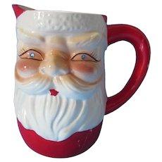 Holiday Ceramic Santa Claus Pitcher Blue Rhinestone Eyes Made in Japan