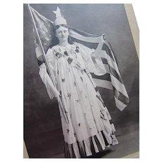 Patriotic Photograph CDV Lady Liberty Dressed in Flag and Spangles Mason Studio Marshfield Wisconsin