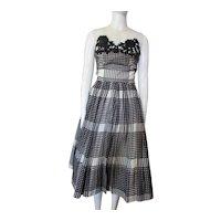Terrific Summer Dress in Black and White Plaid by Rona Joan Doris Fashion