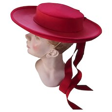 Vibrant Red Wide Brim Hat in Velvet Ribbon Tails