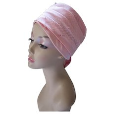 Chic Mid Century Tiered Hat Ballerina Pink Satin