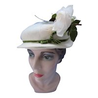 Small Brim Hat in White & Green White Rose Roberta Bernays