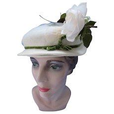 Small Brim Hat in White & Green White Rose Roberta Bernays