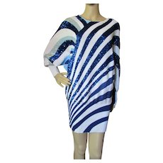 Vintage Sweater or Mini Dress Top Bonnie Boerer Company in Electric Blue Sequin Waved Stripes 1980 Style Size P/S