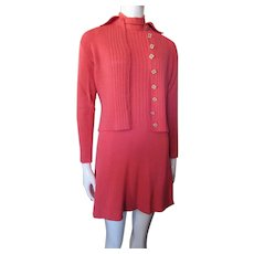 St. John Knits for Jacobson's Coral Knit Mini Dress Matching Jacket 1970 Style Size Small