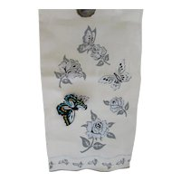 Pair Kitchen or Tea Towels Never Used Silver Roses & Paper Butterflies by Imperial