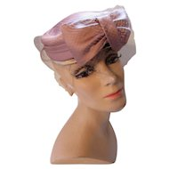 Fabulous Cocktail or Church Hat Modified Pill Box in Mauve Copper Satin Huge Front Bow by Juli Kay