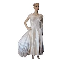 Gorgeous Mid Century Wedding Dress Tea Length Ivory MIriam Originals New York