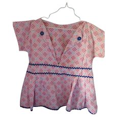 Cute Farmhouse Style Clothes Pin Holder Dress in Pink Plaid Cotton with Navy Rick Rack