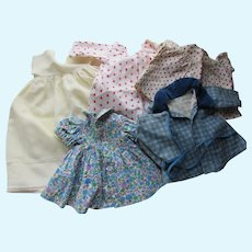 """Set of Six Doll Clothes 12"""" Chest Dresses Coats Nightgowns"""