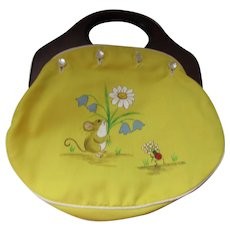 Fabric Purse with Exchangeable Covers Lemon Yellow Mouse and Strawberry with Wood Handles