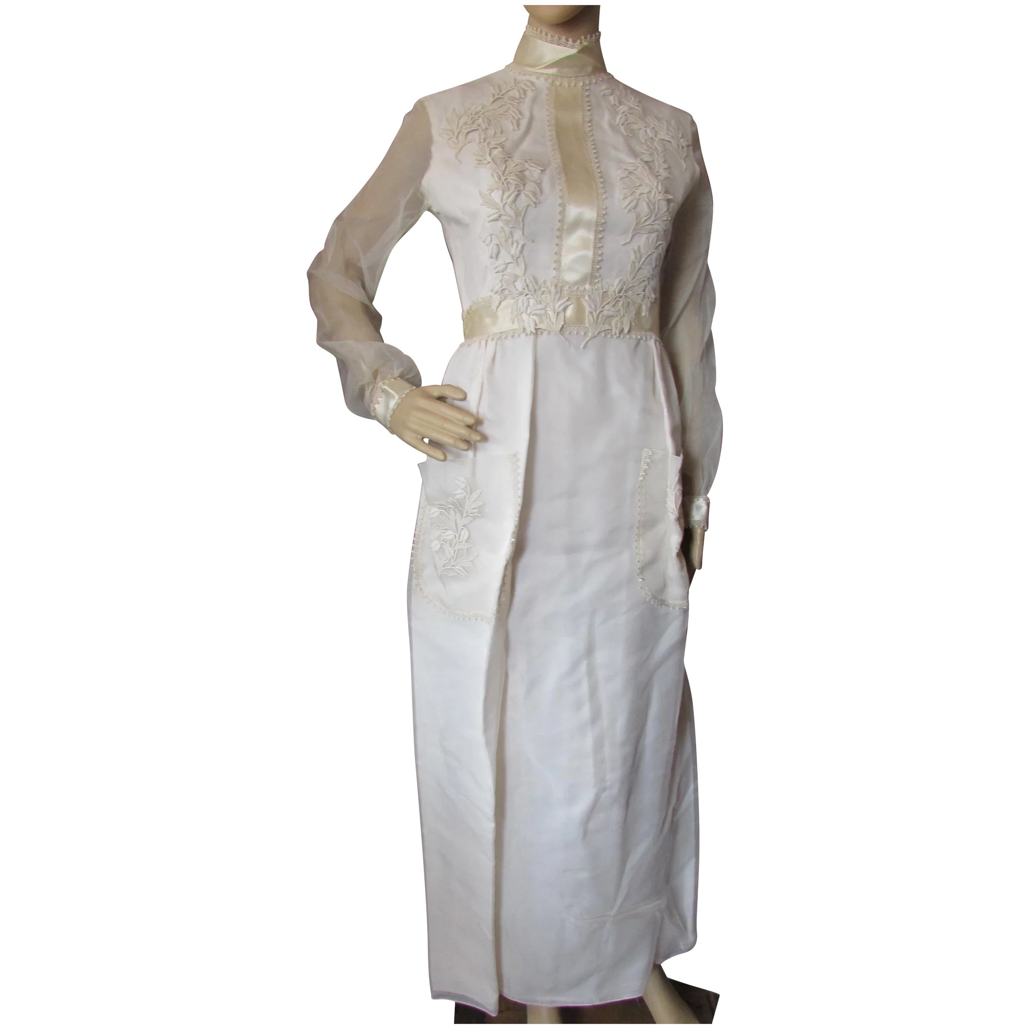 1970 Wedding Dress In Cream Organdy Simple Prairie Style