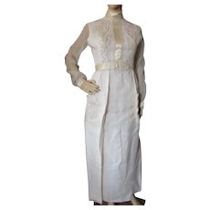1970 Wedding Dress in Cream Organdy Simple Prairie Style with Satin Ribbon and Patch Pocket Accents