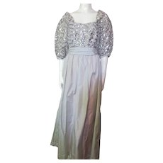 Evening Gown in Silver Tone Satin and Sequins Lee Jordan Size 6