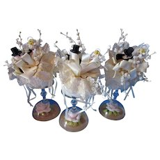 Trio Cutest Wedding or Bridal Shower Favors Pipe Cleaner Bride & Groom on Upside Down Champagne Glass