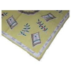Vintage Handkerchief Figural Hankie Coffees of Brazil Le Cafe du Bresil Santos Cafe do Brasil Coffee Bag Theme Vogue Handkerchief