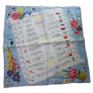 Vintage Handkerchief Astrological Signs Dates Personality Traits Symbols Burmel Original Tag Free Shipping USA