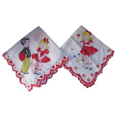 Pair Vintage Children's Valentine Hankies Girl with Dog Boy with Valentine Box