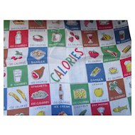 Fun Vintage Handkerchief Hankie with Calorie Counts Primary Colors Hand Rolled Free Shipping USA