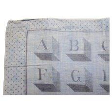 Vintage Handkerchief Child Hankie Block Alphabet Polka Dot Border Shades of Gray Free Shipping USA