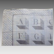 Vintage Handkerchief Child Hankie Block Alphabet Polka Dot Border Shades of Gray Free Shipping USA