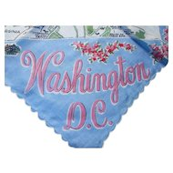 Vintage Handkerchief Ladies Hankie Souvenir Hankie Washington DC Map of DC Capitol Monuments Blue and Pink Cherry Blossoms Free Shipping USA