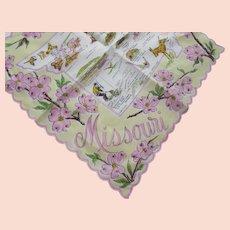 Missouri Handkerchief Souvenir Hankie Pink Yellow