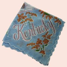 Kentucky Hankie Souvenir Handkerchief Blue & Orange Goldenrod