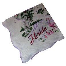 Florida Souvenir Handkerchief Pink & Green