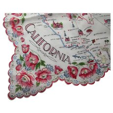 Handkerchief California Souvenir Hand Painted Pink Roses Graphic Map Never Used
