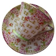 Dainty Royal Standard Bone China Cup and Saucer Duchess Basket Weave Pattern 259 Made in England