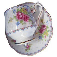 Royal Albert Demitasse Cup and Saucer in Sweet Petit Point Pattern Made in England