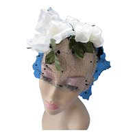Whimsy Hat White Blossoms on Black Velvet Ribbon Flocked Veil