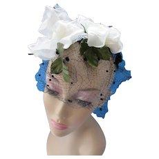 Whimsy Hat White Blossoms on Black Velvet Ribbon Flocked Veil
