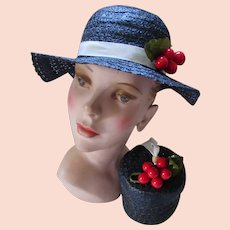 Navy Straw Hat with Cluster Cherries Matching Purse Mid Century Style