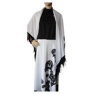 Long Dress in Black and White with Halter Top Black Rose Skirt and Matching Fringed Cape Size Large