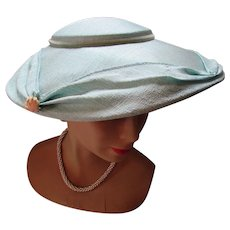 Amazing Platter Hat 1950 Style in Aqua Pastel  Shantung Like Fabric Wedding or Garden Party