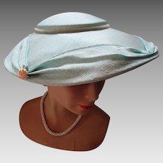 Amazing Platter Hat 1950 Style in Aqua Pastel  Shantung Like Fabric Wedding or Garden Party