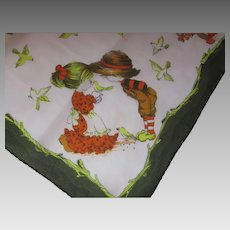 Vintage Ladies Scarf Nasharr Freres Japan Prairie Children in Autumn Tones