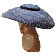 !950 Era Platter Hat in Navy Lace and White Flocked Net Wide Brim
