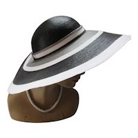 Wide Brim Hat Gray Black White Bands Sylvia New York St. Louis