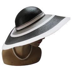 Wide Brim Hat Gray Black White Bands Sylvia New York St. Louis