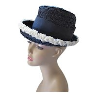 Mid Century Cello Straw Hat in Navy & White High Top French Room Carson Pirie Scott