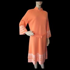 Trendy 1970 Era Dress in Citrus Orange Wool with Flared Sleeves Italy Cadillac Venezia New York